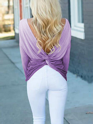 Gradient Backless Cross Long Sleeve T-Shirt