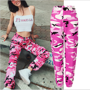 Women High Waist Camouflage Fashion Ankle-Length Cotton Streetwear Pants