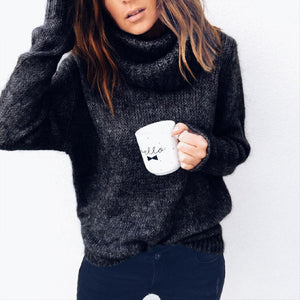 Women Casual Long Sleeve Turtleneck Knitted Pullover Sweater