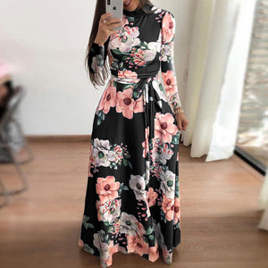 Autumn High Collar Long Sleeve Flower Print Large Swing High Waist Lace Dress