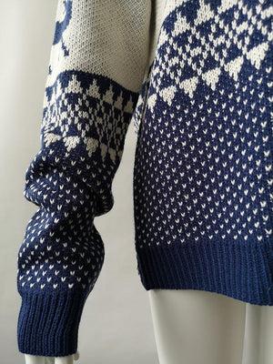 Christmas Geometric Elk Jcquard Knitted Sweater
