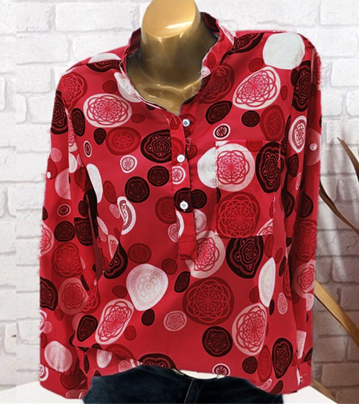 Dot Print Three Buttons Long Sleeve Shirt