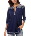 Casual Deep V-neck Printed Nine-point Sleeve T-shirt