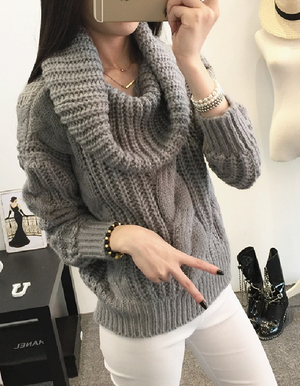 Solid Color Lapel Twist Pullover Sweater