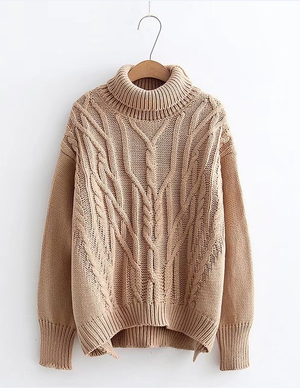 Sweet and Versatile Casual Solid Color Two-turn High Collar Sweater
