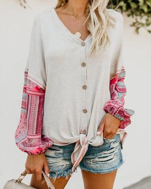 Casual Slim Knotted Long-sleeved Digital Print Sweater