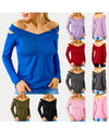 Sexy Off Shoulder Long Sleeve Hollow V Neck T-shirt