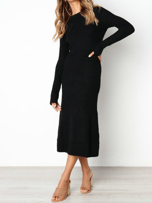 Sexy Round Neck Long Sleeve Solid Lycra Sheath Dress