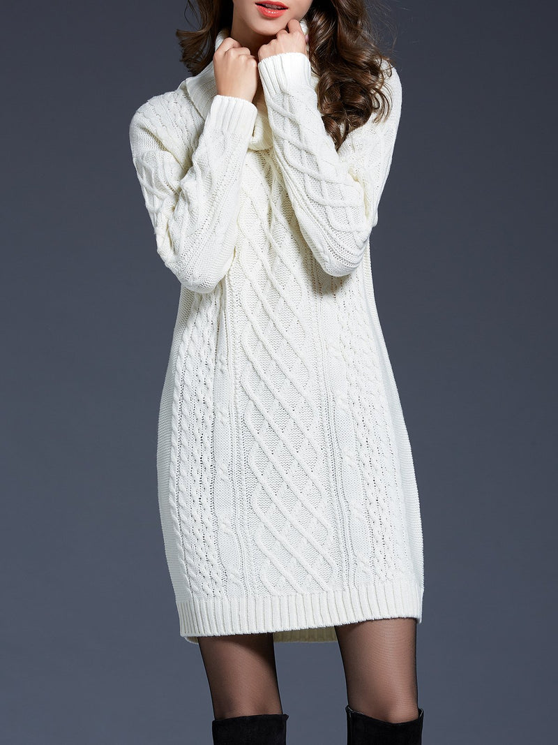 Scarf Collar Knit Sweater Midi Dress
