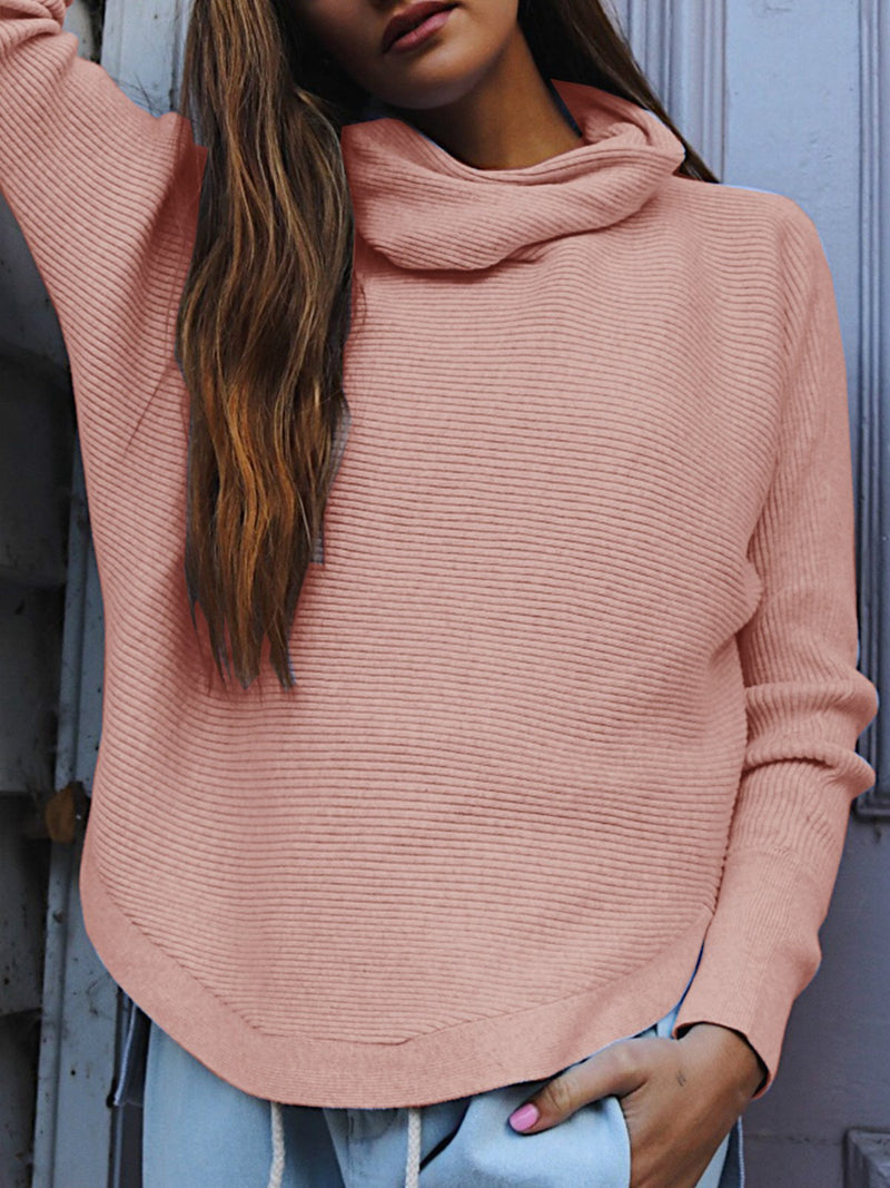 Scraf Neck Sweater Knit Loose Casual Blouse Top