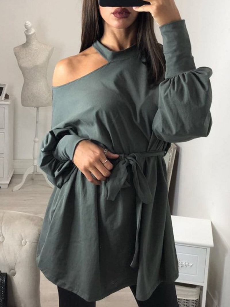Cold Shoulder Long Sleeve Self-tied Sweatshirt