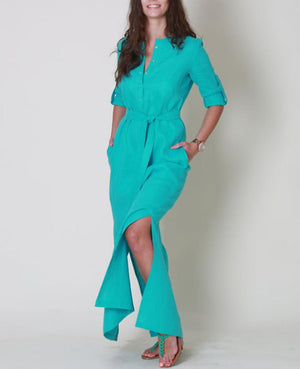 V Neck Green Women Fall Dresses Date Cotton Plain Dresses