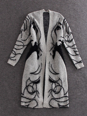 Gray Batwing Abstract Cotton Casual Knitted Winter Cardigan