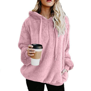 Fashion Zip Pocket Hooded Plush Sweater Blouse