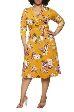Wrap Collar Self-tied Waist Midi Floral Dress