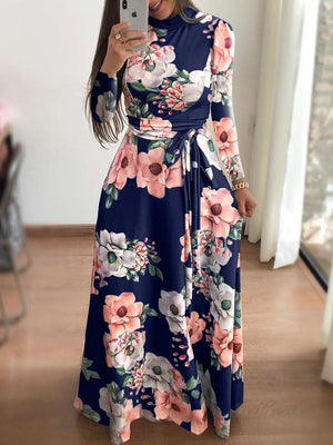 Elegant Long Sleeve Maxi Winer/Fall Floral Swing Dress