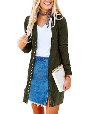 Solid Midi Length Button Placket Front Knit Cardigan