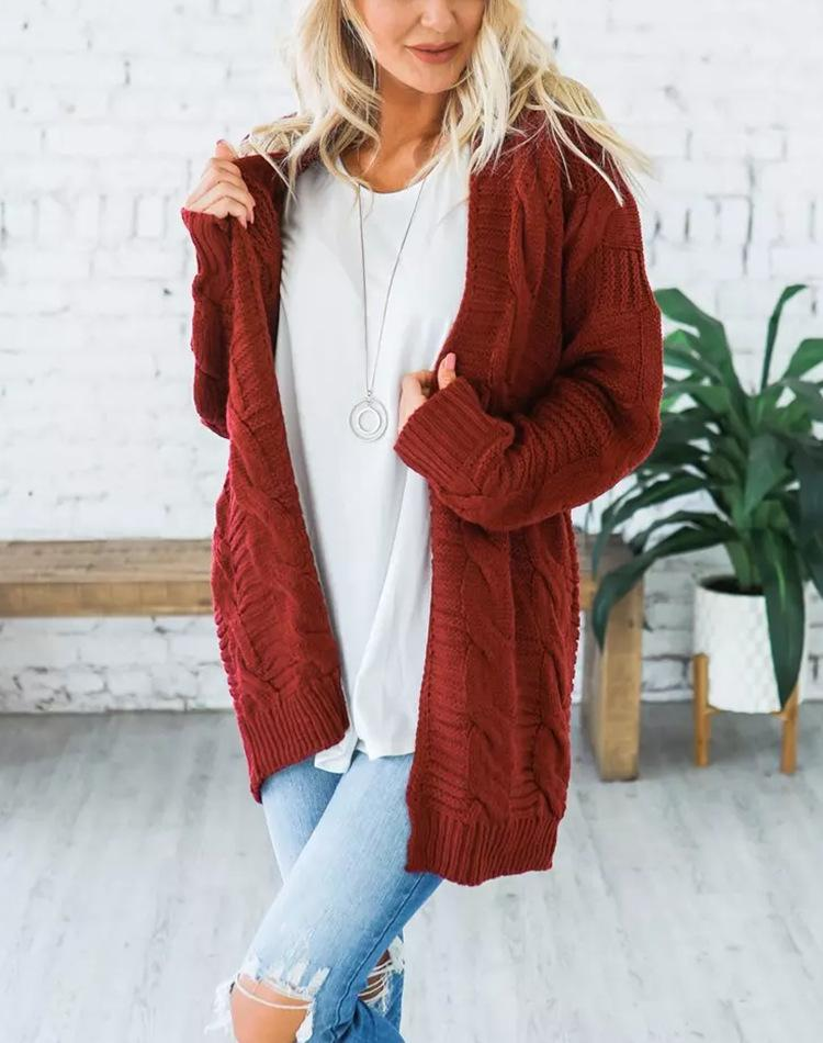 Solid Long Sleeve Sweater Cardigan Coat