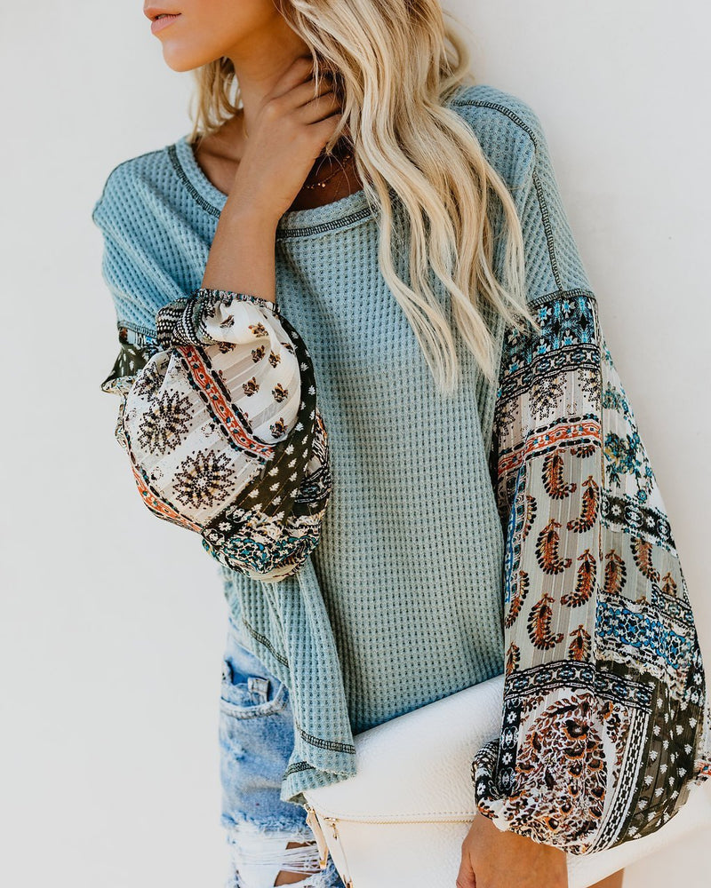 Solid Body Bohemia Style Print Bloomer Sleeve Loose Knit Blouse