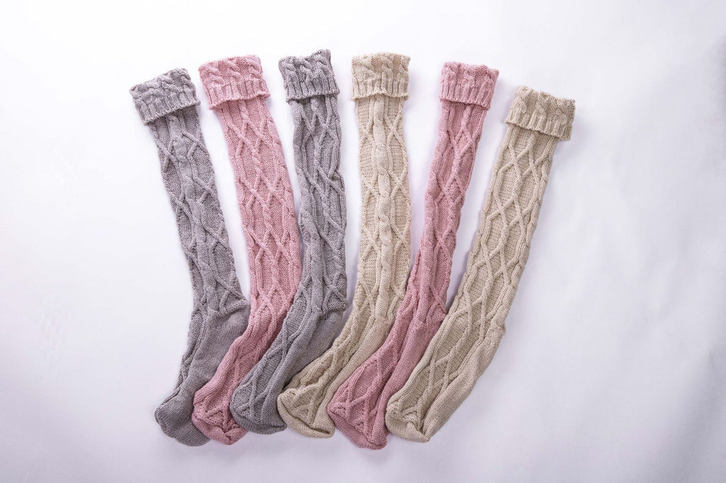 Twisted Pattern Knit Heaps Solid Stocking