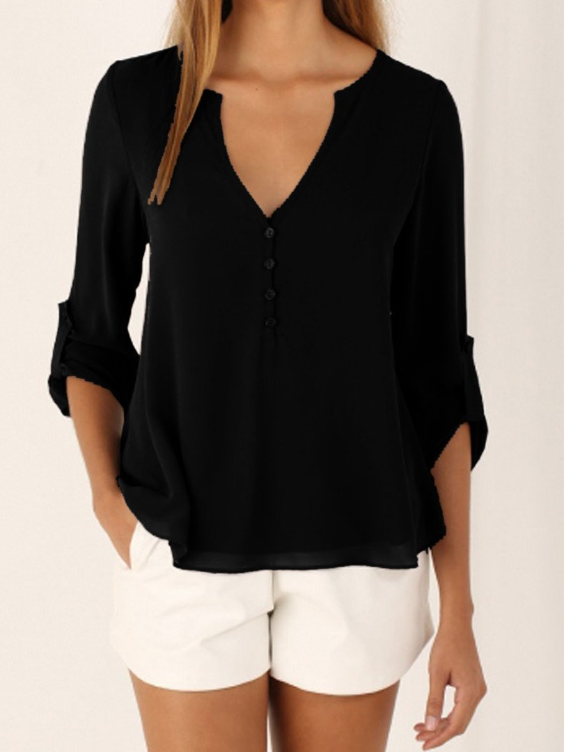 3/4 Sleeve V-neck Large Size Chiffon Shirt