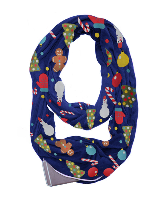 Christmas Gift Printed Zipper Pocket Scarf