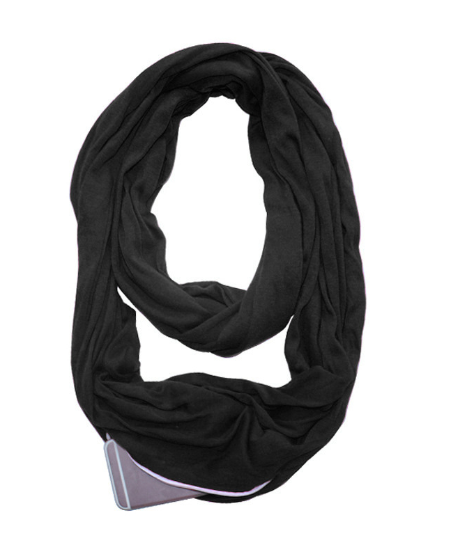 Daily Pure Color Printed Zipper Pocket Scarf