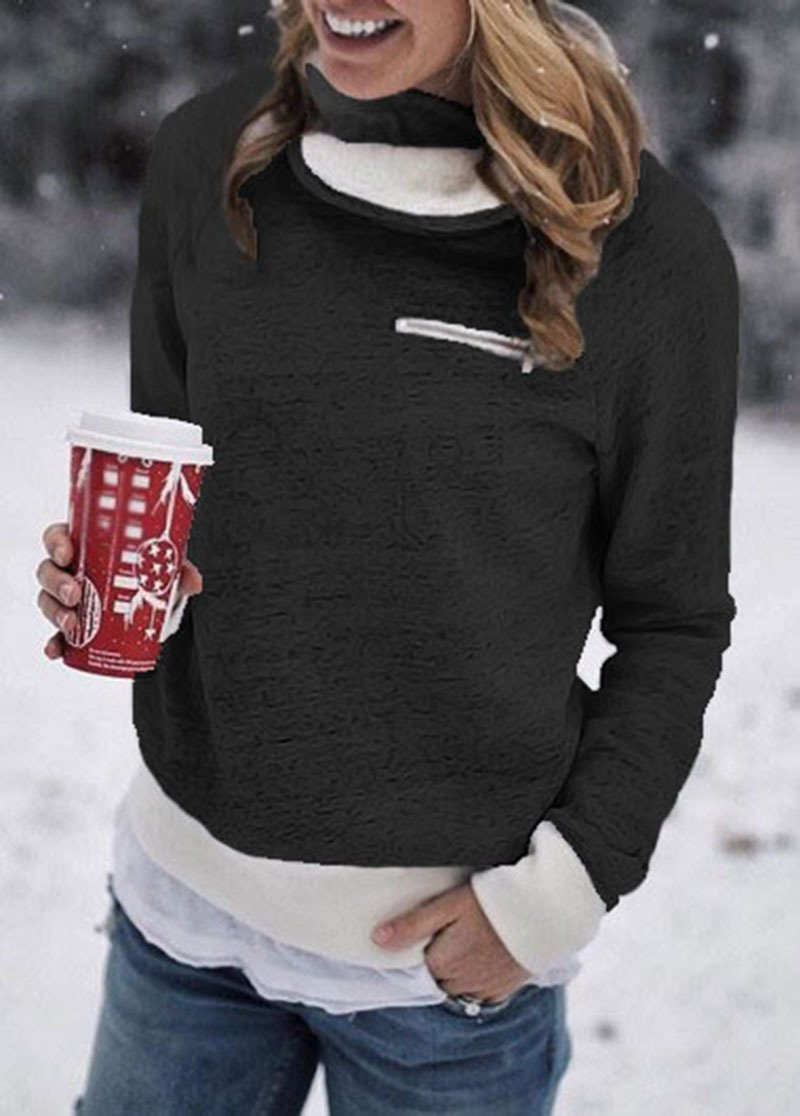 Women Long Sleeve Zipper Turtelneck Sherpa Sweatshirt