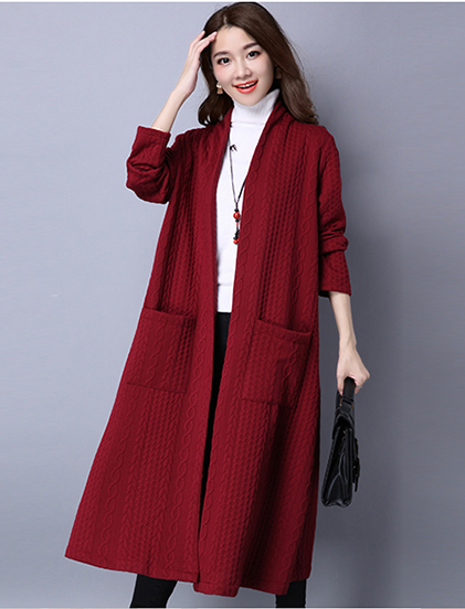 Long Cotton Linen Thickened Elegant Long-sleeved Windbreaker Cardigan