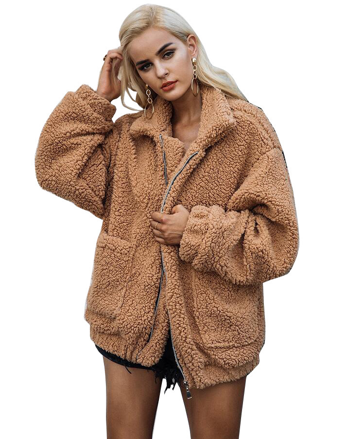 Zipped Faux Fur Plush Pockets Loose Coat