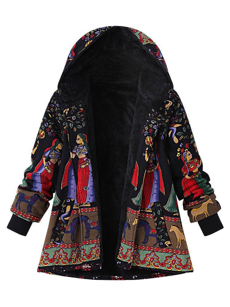 Vintage Plus Size Thick Warm Casual Women Printing Hooded Coat