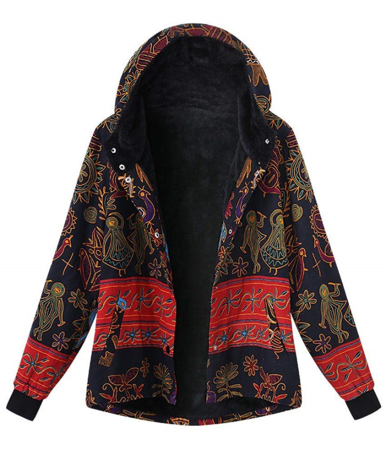 Women Hooded Fashion Winter Loose Cotton Warm Printed Pocket Button Thicken Hasp Coat