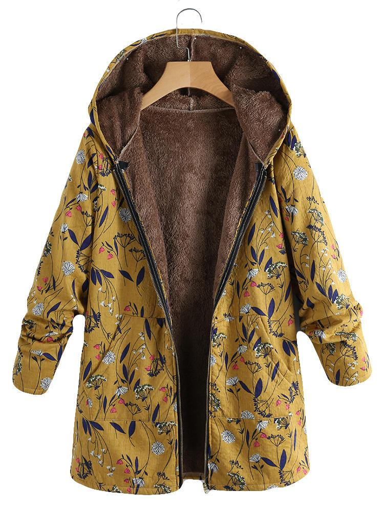 Floral Print Hooded Long Sleeve Pockets Vintage Coat