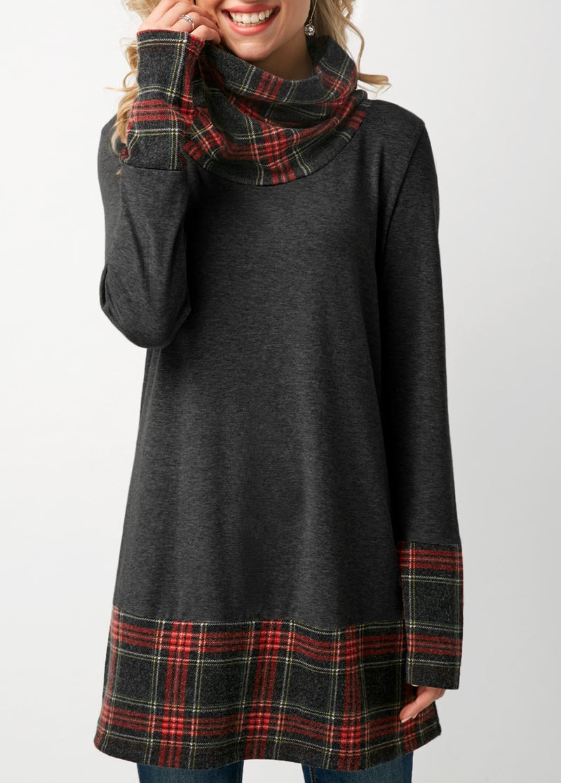 Cowl Neck Patchwork Plaid T-Shirt