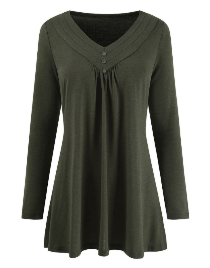 Plus Size Loose V-neck Buttons long-sleeved T-shirt