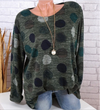 Women Fashion Polka Dot Casual Turn-down Collar Long Sleeve Blouses