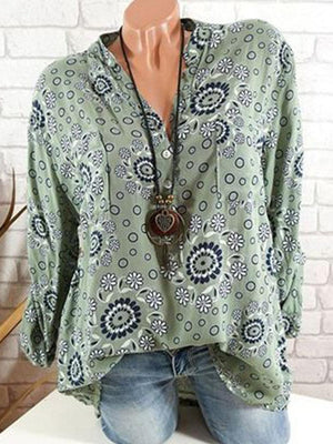 Ethnic Printed Long Sleeve V-neck Casual Blouses