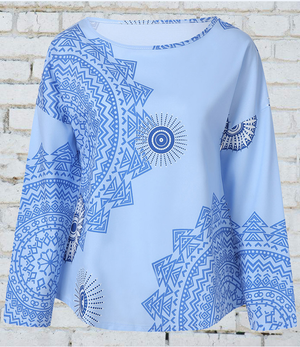 Long Sleeves Rome Style Floral Printed T-shirt