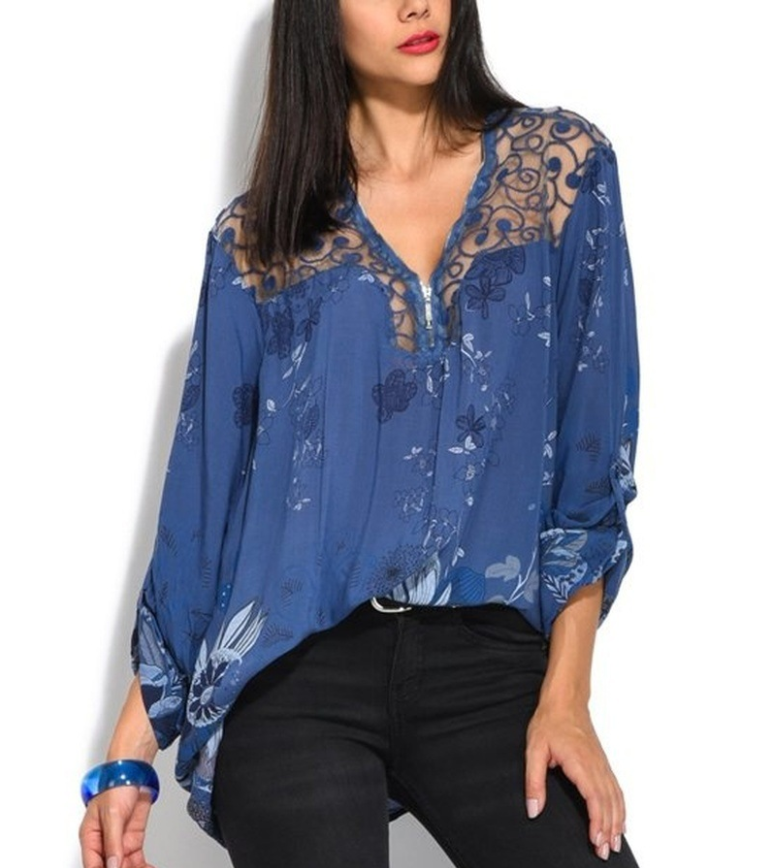 Elegant Lace V-collar Floral Printed Long Sleeved Shirt