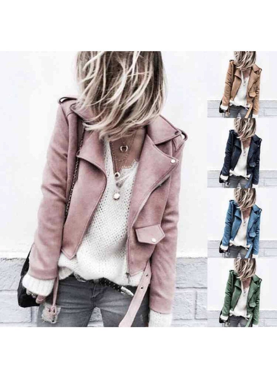 Solid Casual Suede Shawl Collar Plus Size Jackets