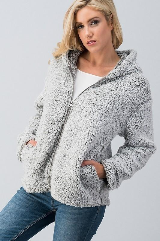 Zipper Long Sleeve Shawl Collar Plus Size Coats