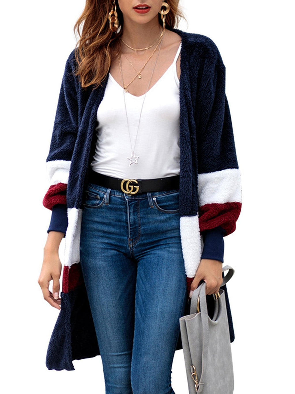Striped Cashmere Knitted Elegant Winter Color-block Teddy Bear Cardigan