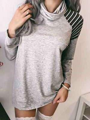 Striped Casual Long Sleeve Color-Block T-Shirts
