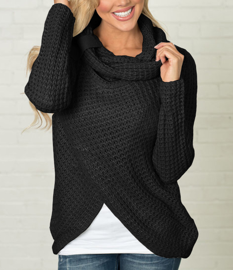 Autumn and Winter Long Sleeve Knitted Irregular Hem Sweater