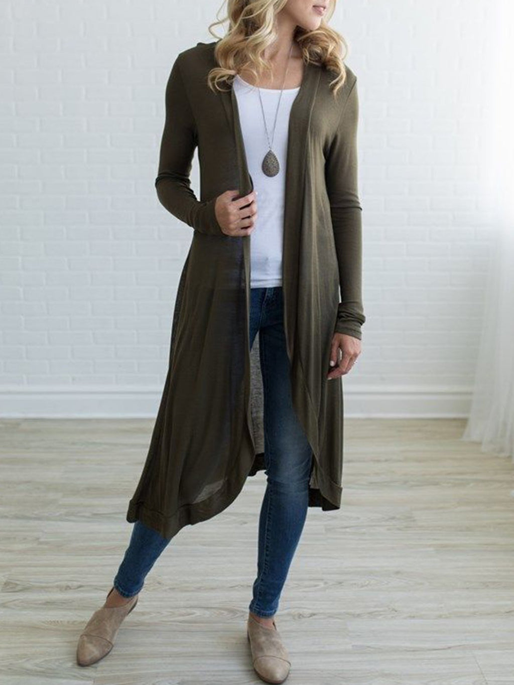 Solid Long Sleeve Light Weight Midi Cardigan Coat