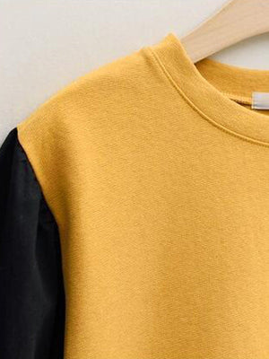 Contrast Self-tied Bow Hem Round Neck Loose Sweatshirt