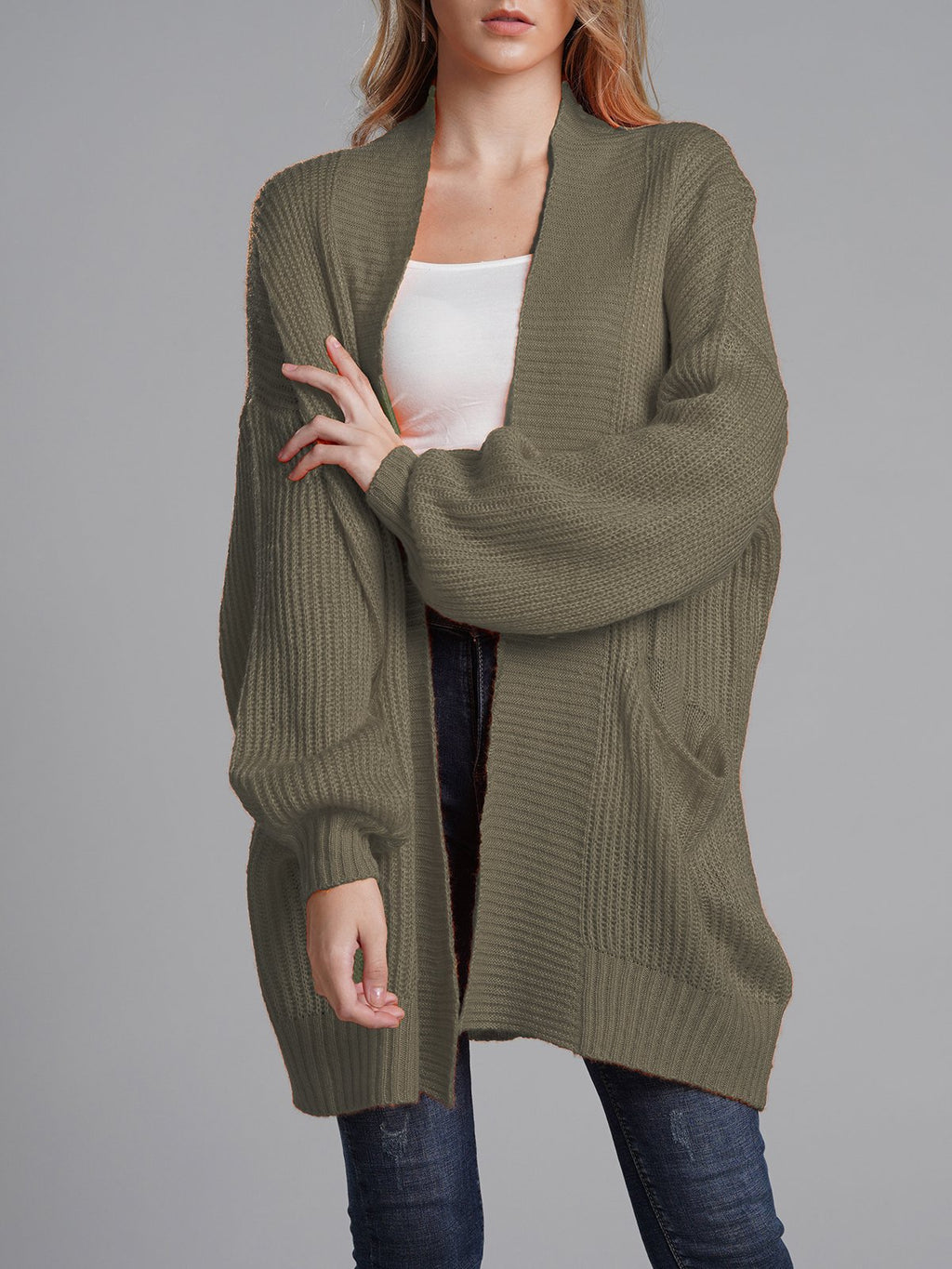 Officeladies Casual Knit Loose Round Neck Cardigan Sweater