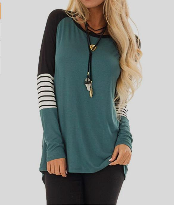 Round Neck Color Block Stripe Print Paneled Long Sleeve Tee