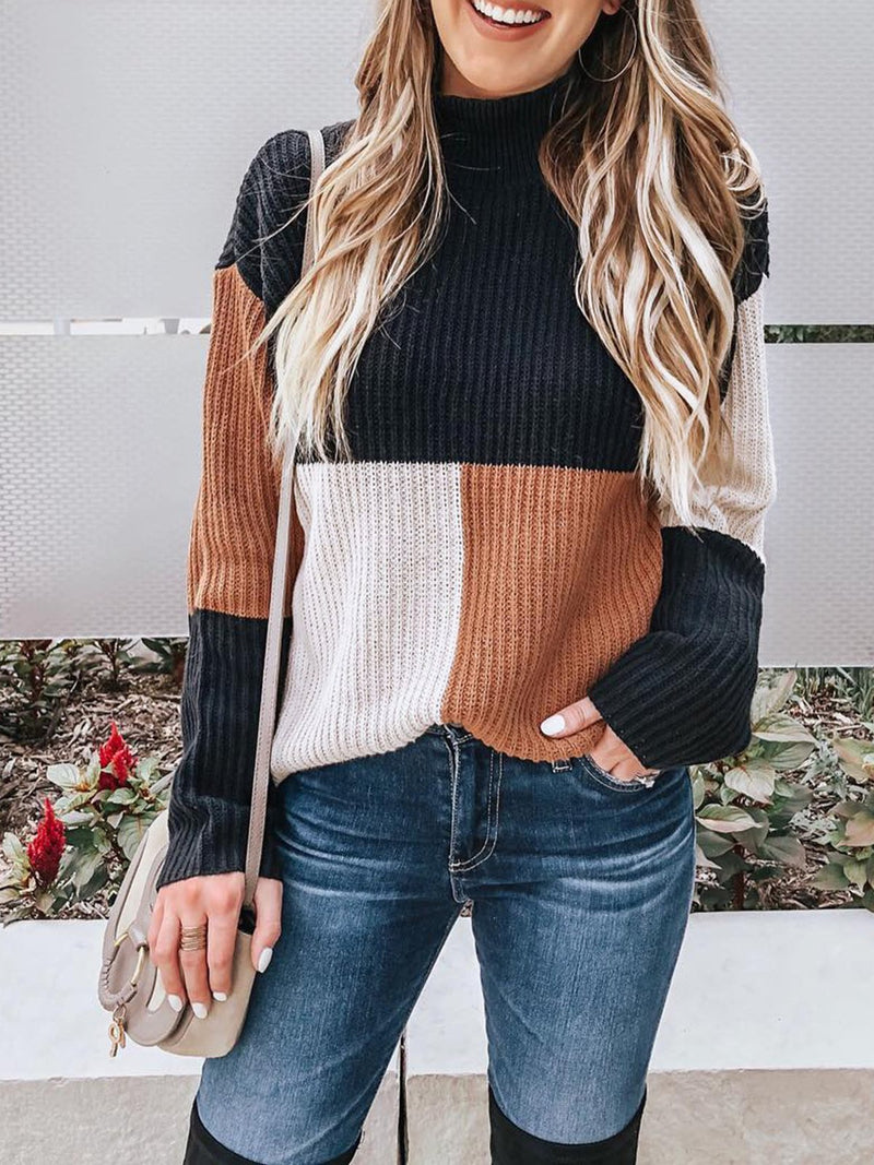 Casual Color Block Long Sleeve Pullover Sweater