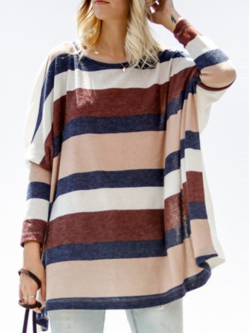 Women Plus Size Stripes Long Sleeve T-Shirts